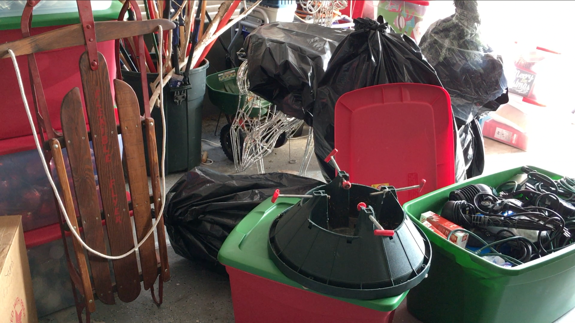Christmas Cleanup storage and organization